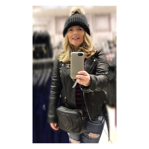 Zara Leather jacket, Chanel Pearl Brooch, Topshop jeans, New Look bobble hat.